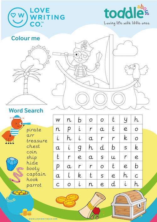 Colour in and Word Search Activity Sheet  image