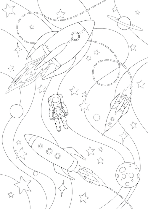 Rockets Colouring In Activity Sheet   image