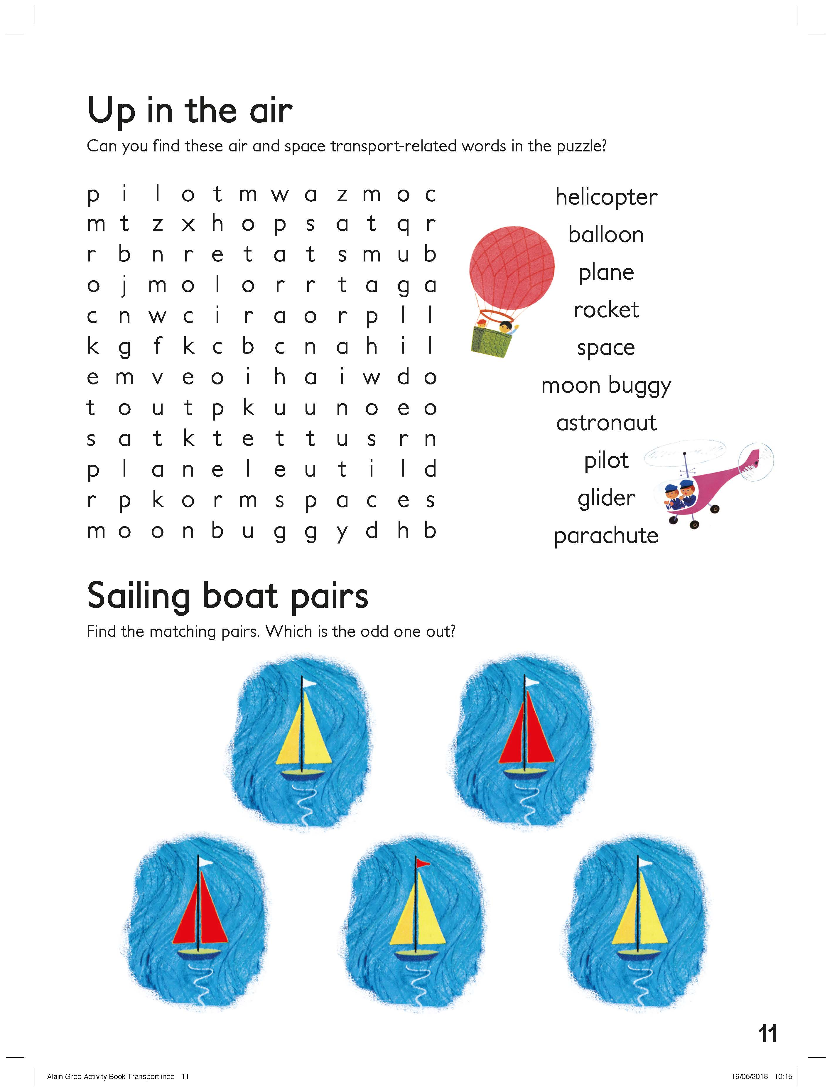 Transport Word Search and Pairing Activity Sheet  image