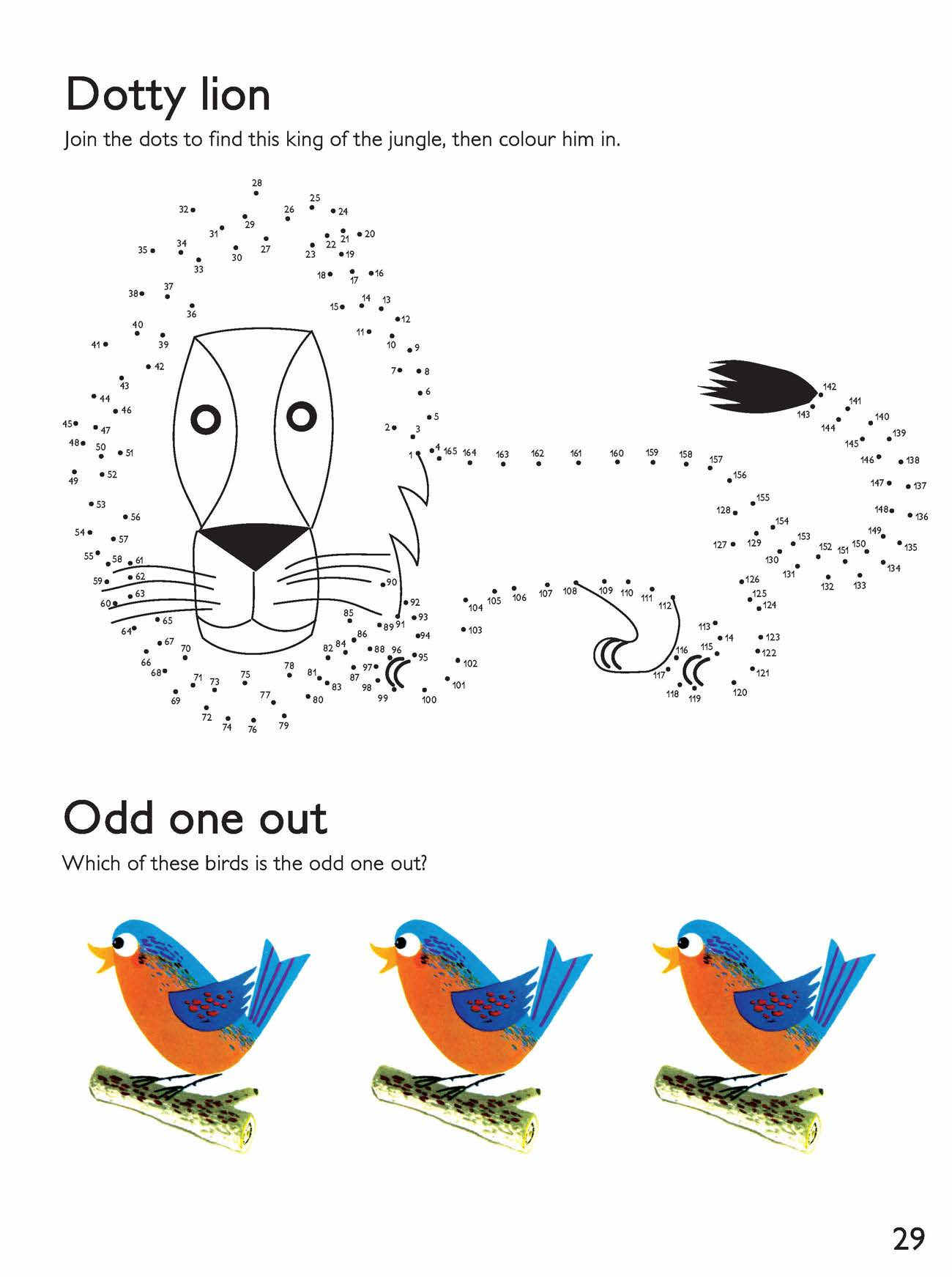 Dotty Lion and Odd One Out Activity Sheet  image