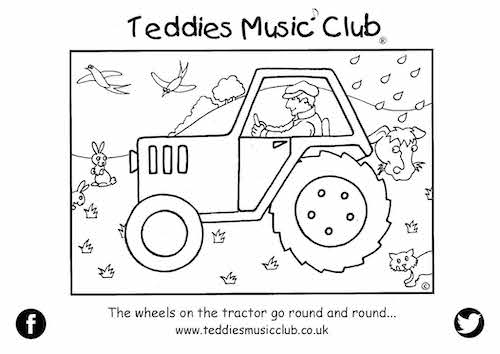 The Wheels on the Tractor Colouring In Activity Sheet  image
