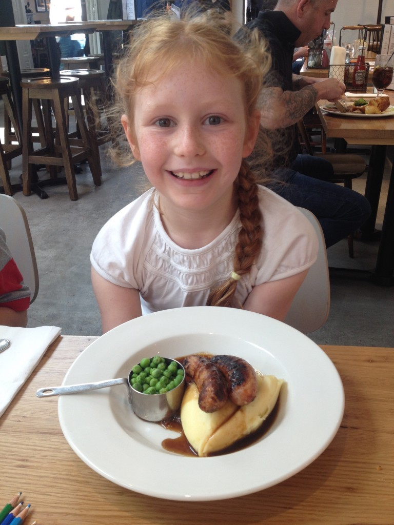 "Yummy bangers and mash - ""The best I've ever tasted,"" she said!"