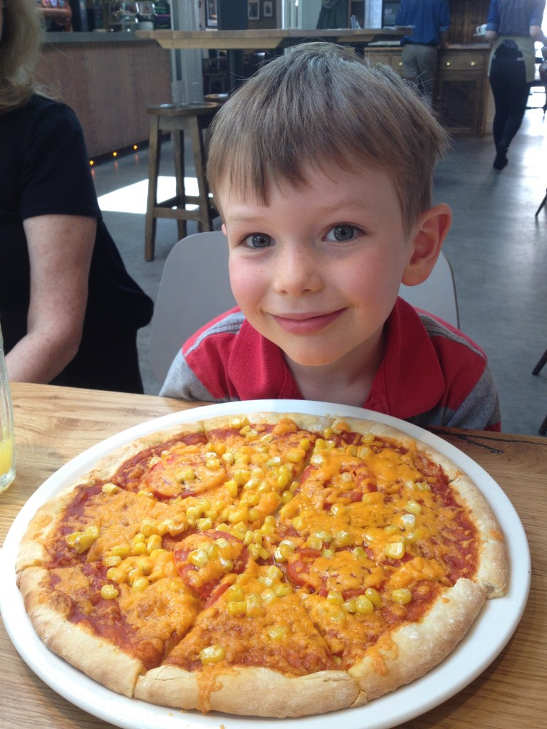 A truly massive, and greatly enjoyed child's pizza (with extra sweetcorn)
