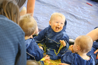 During messy play, babies and pre-schoolers are given creative freedom.